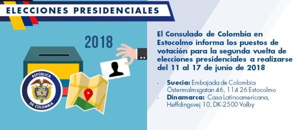 Consulado de Colombia en Estocolmo informa los puestos de votación para la segunda vuelta de elecciones presidenciales a realizarse del 11 al 17 de junio de 2018